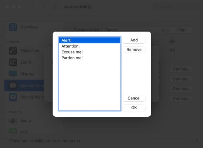 Select Edit Phrase List from Mac