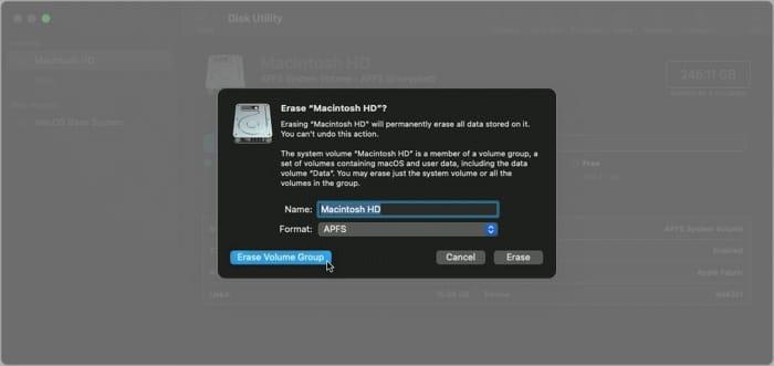 Select Erase Volume Group on Mac