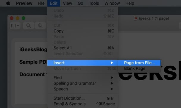 Select Page from File from edit menu on Mac