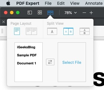 Select Vertical under Split View from PDF expert
