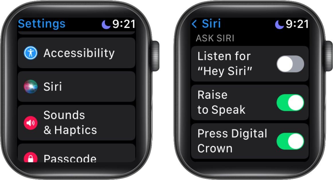 Silence Siri on Apple Watch