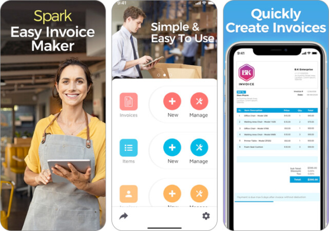 Spark invoice maker iPhone and iPad app