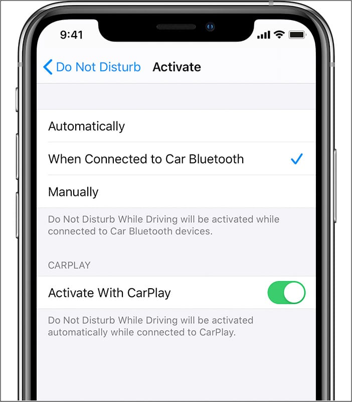 Turn on Activate With CarPlay on iPhone