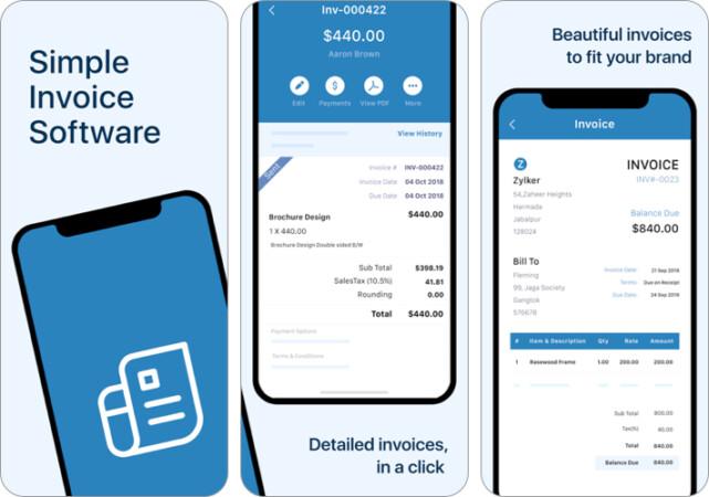 Zoho Invoice iPhone and iPad App