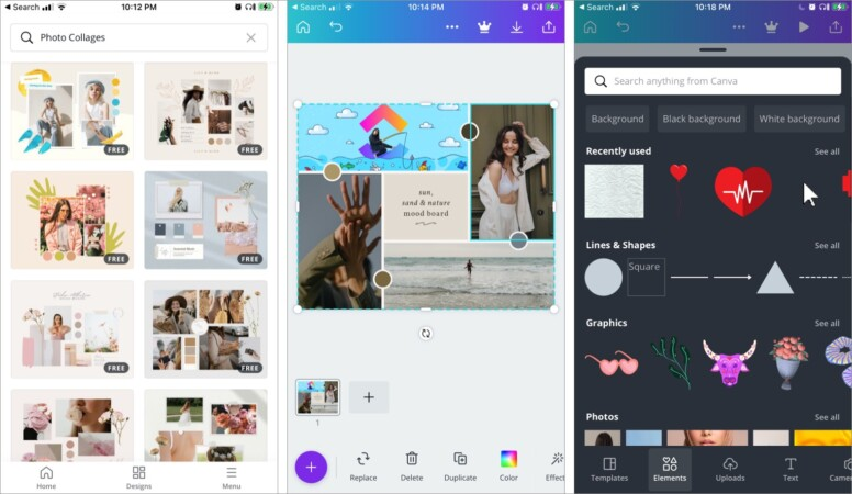 Canva best free collage making iPhone app