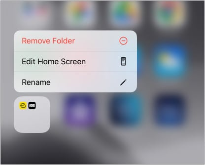 Long-press and iPhone folder and tap Remove Folder