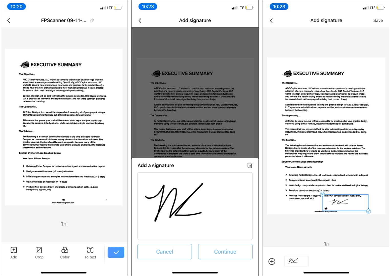 Add a signature in document using FP Scanner