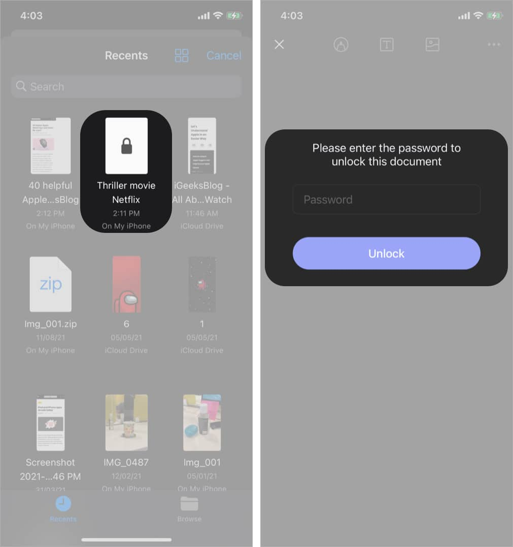 Add your PDF Password and Unlock in PDF Element iOS app
