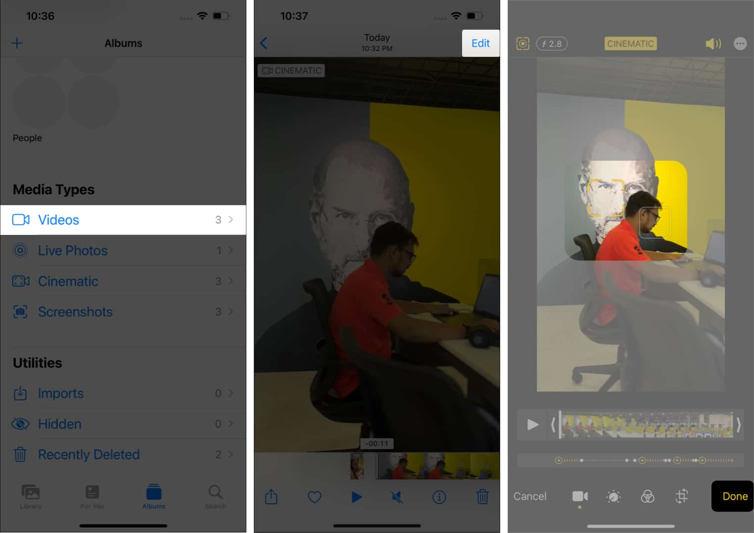 Change focus after shooting in Cinematic mode on iPhone 13