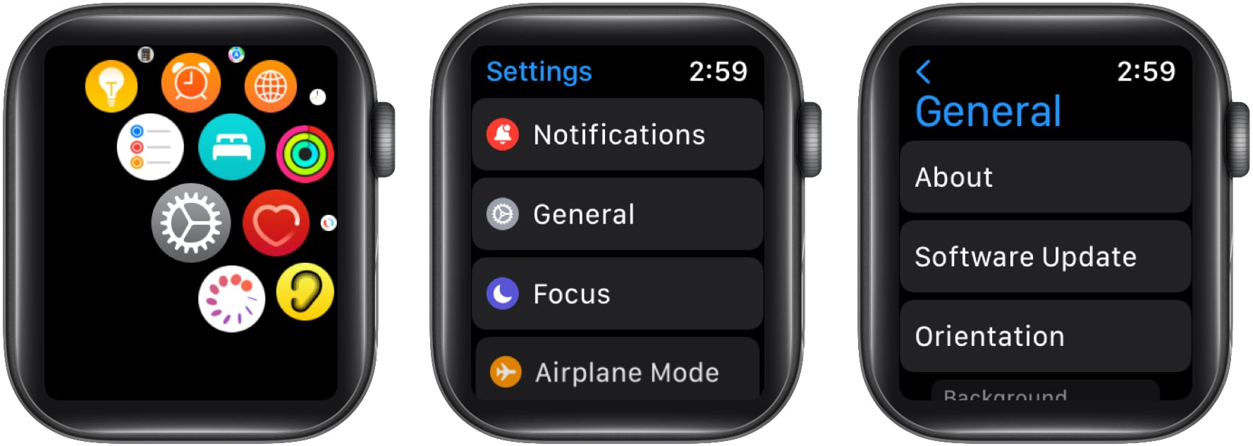 Choose Software Update from general settings from Apple Watch