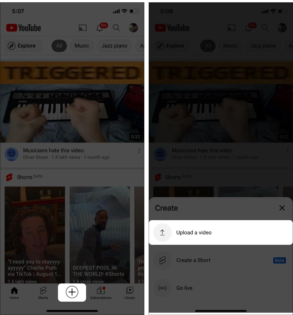 Choose 'Upload a video' from the options in YouTube on iPhone
