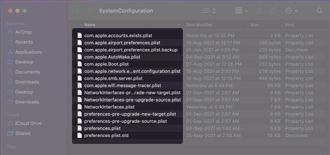 Delete network configuration files on Mac
