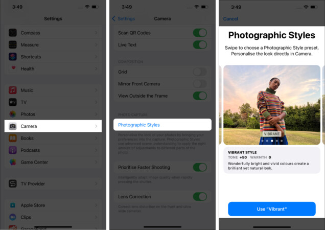 How to set a default Photographic Style on iPhone 13