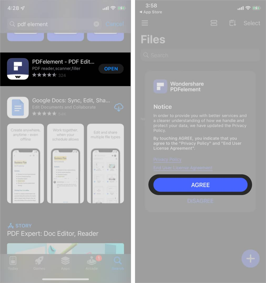 Install PDF Element and Tap Agree on iPhone