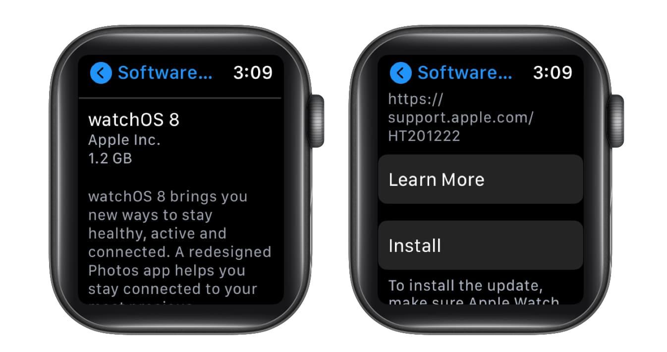 Install watchOS 8 on Apple Watch