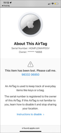 Scan a lost AirTag to contact the owner