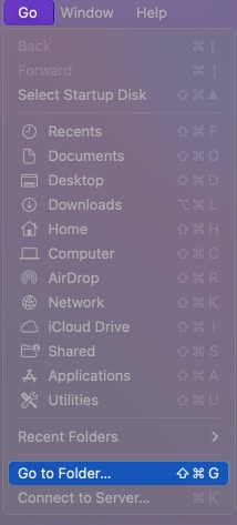 Select Go to Finder on Mac