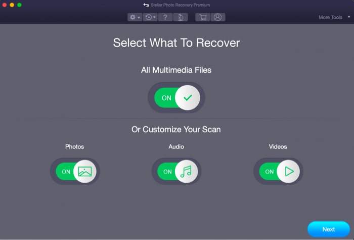 Select Photos in the Select What to Recover screen on Mac