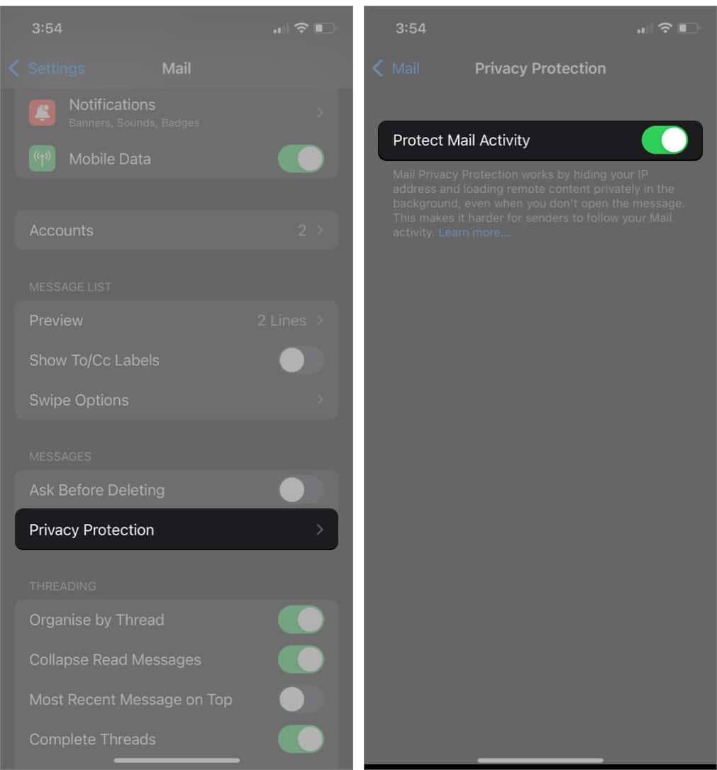 Turn on Privacy Protection in Mail settings on iPhone