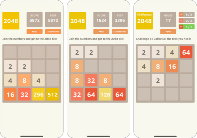 2048 board game for iPhone and iPad