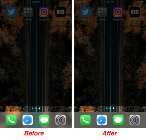 Before & After effect of changing Dock color on iPhone