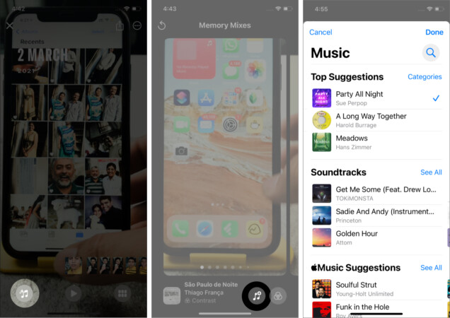 Change the background music in Memories on iPhone