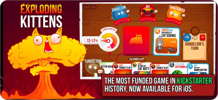 Exploding Kittens board game for iPhone and iPad