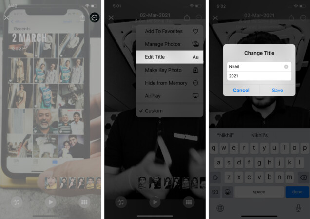 How to change the title of a Memory in the Photos app