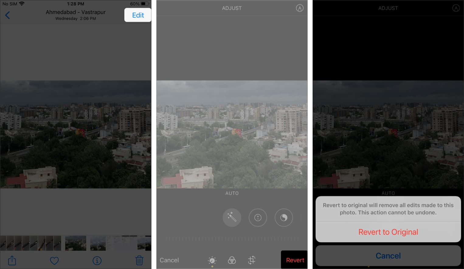 How to undo crop and revert to the original photo