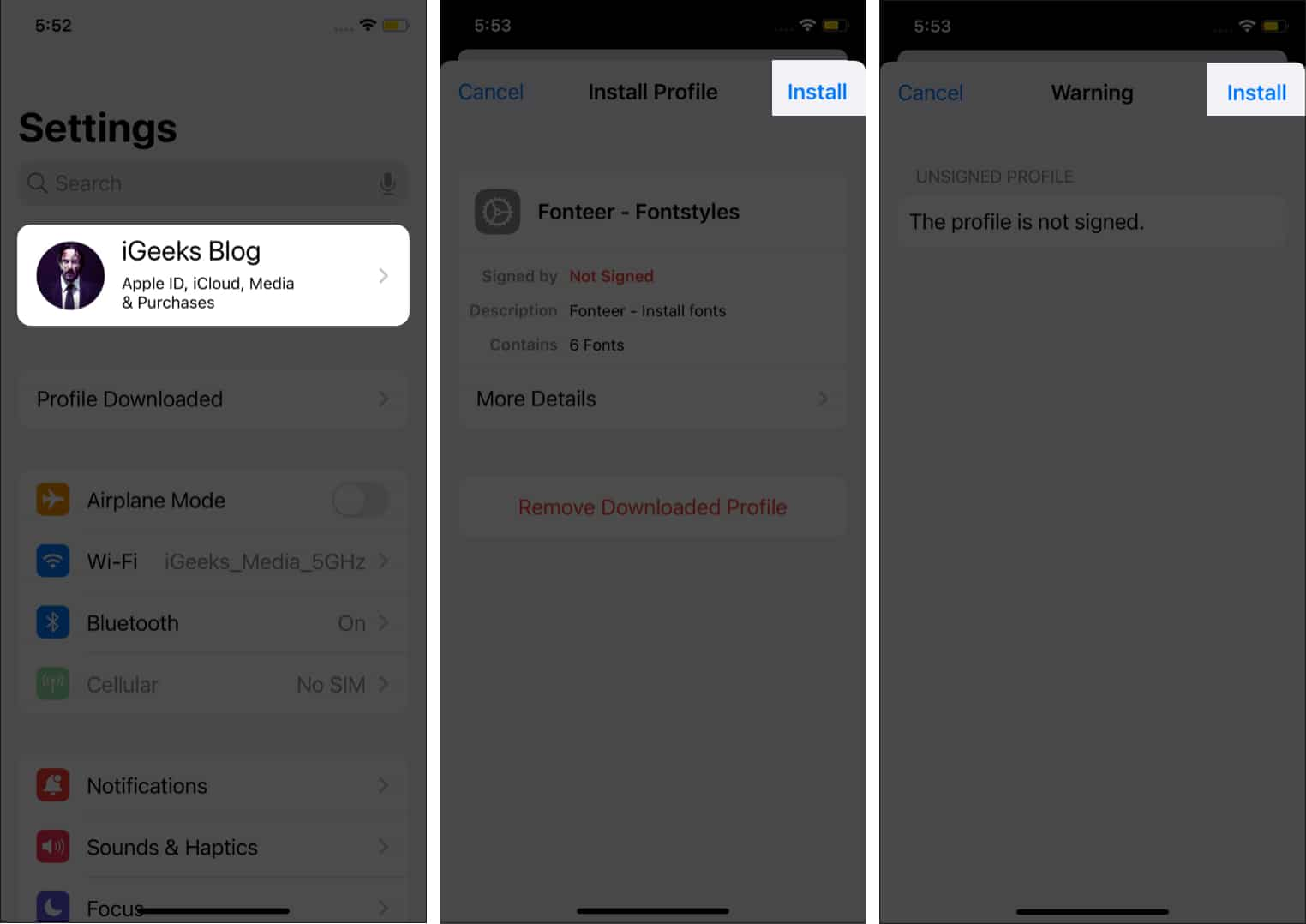 Install Custom fonts from iPhone's Setting