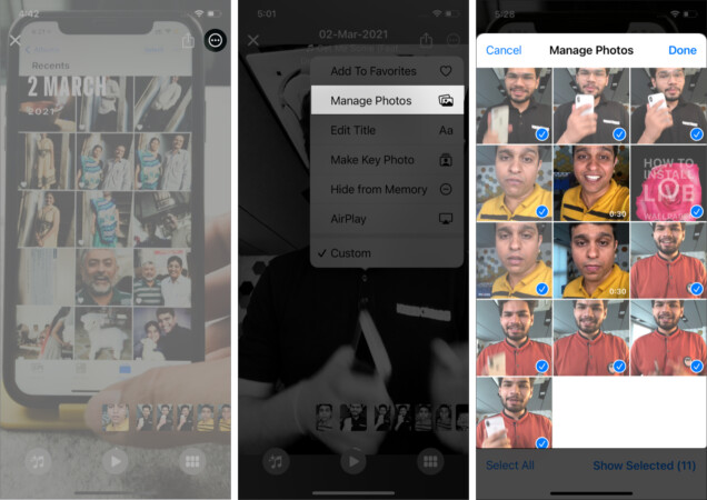 Remove photos from a Memory on iPhone