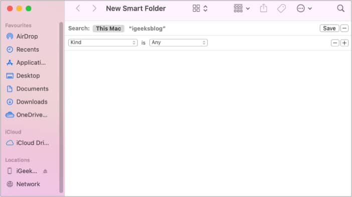 Save your searches using Smart folder on Mac
