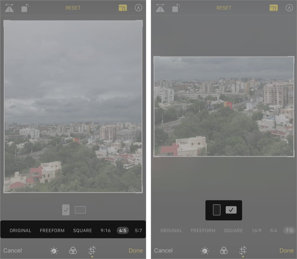 Select either a horizontal or vertical crop on iPhone