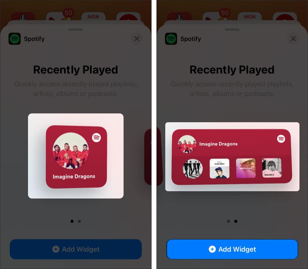 Tap the Add Widget button to add Spotify widget
