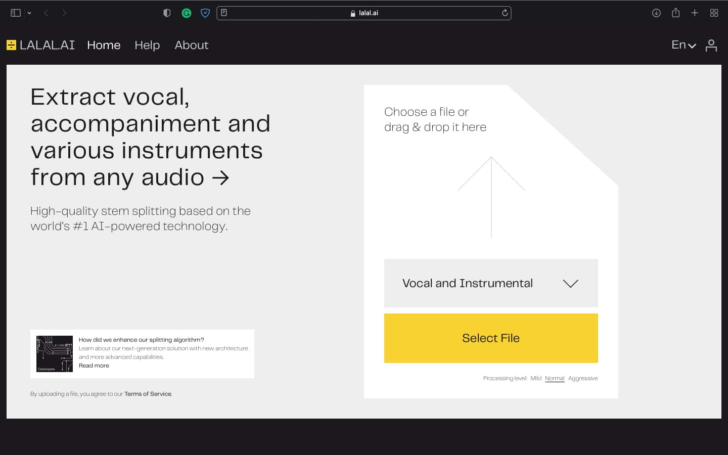 Upload the music and let the AI process the file