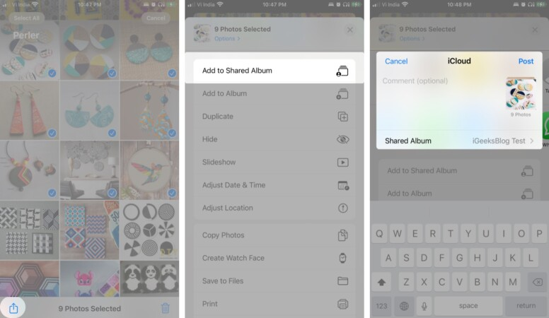 Add photos and videos to the shared album on iPhone and iPad