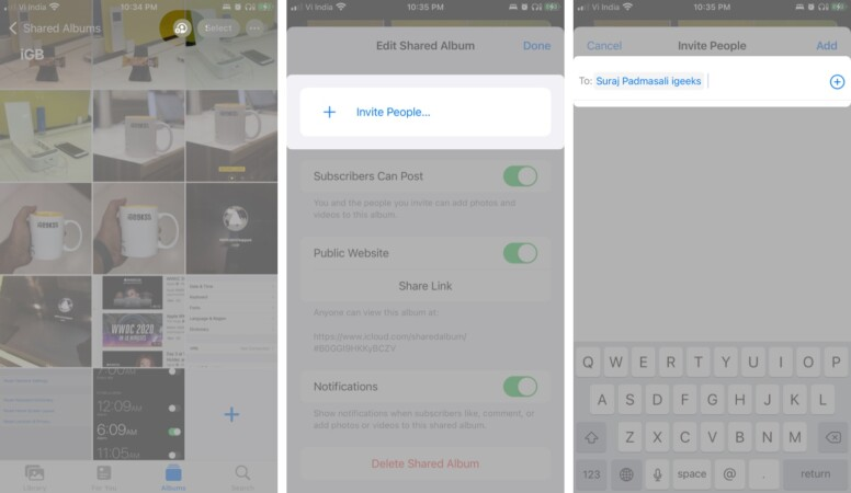 Add subscribers to a shared album on iPhone and iPad