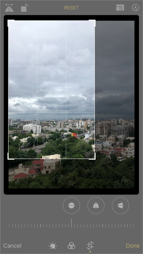 Drag the edges and corners to crop the Photo on iPhone