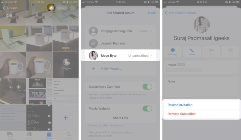 How to remove a subscriber from the shared album on iPhone and iPad