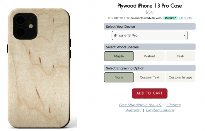 kerf iphone 13 plywood case options