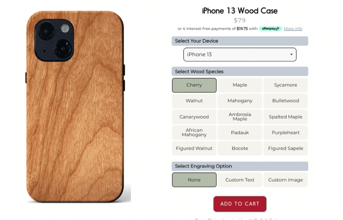 kerf iphone 13 wooden case options